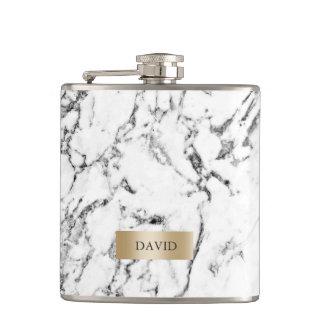 Flasques Étiquette moderne d'or de texture de marbre avec