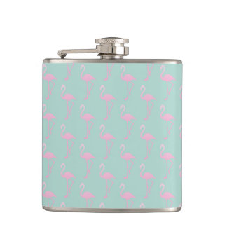 Flasques Flamant rose sur le motif sans couture turquoise