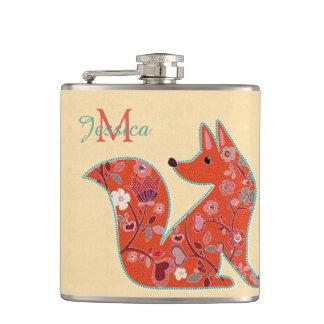 Flasques Fox de motif de fleur d'art populaire
