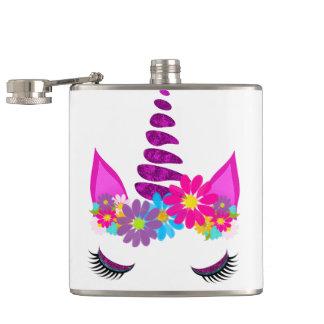 Flasques Girly mignon superbe fleuri de licorne