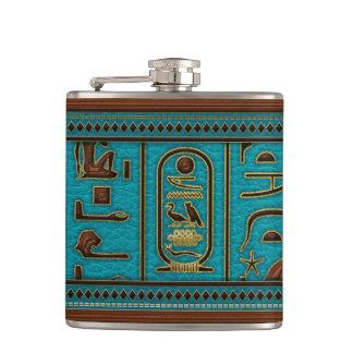 Flasques Hiéroglyphes en cuir d'or égyptiens sur la