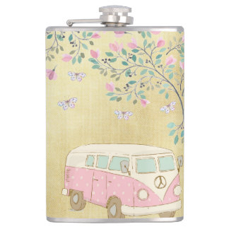 Flasques Hippy Van Butterflies et or de fleur