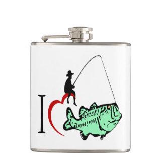 Flasques J'aime aller pêcher avec un coeur rouge
