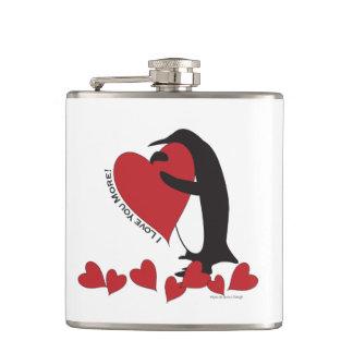 Flasques Je t'aime plus ! - Coeurs rouges de pingouin
