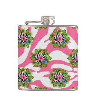 Flasques Ketmie tropicale et rayures roses exotiques de