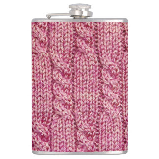 Flasques Knit câblé par fil rose