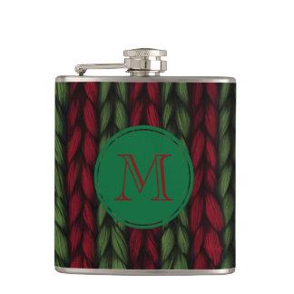 Flasques Knit de monogramme rouge et vert