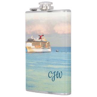 Flasques Lever de soleil en pastel et bateau de croisière