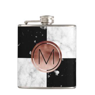 Flasques Marbre rose de blanc de noir d'or de monogramme