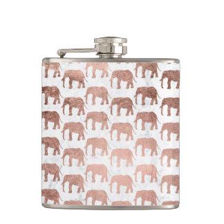 Flasques Marbre rose de blanc d'éléphants d'or de faux à la