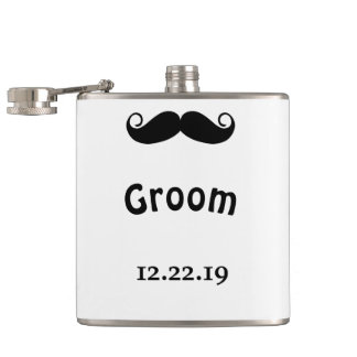 Flasques Mariage de hippie de moustache de marié