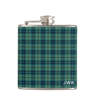 Flasques Monogramme écossais vert clair de tartan de Keith