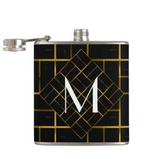 Flasques Monogramme géométrique élégant de motif d'art déco