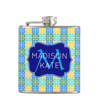 Flasques Monogramme méditerranéen de tuiles de mode à la