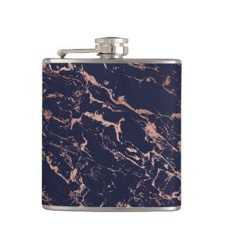 Flasques Motif à la mode de marbre d'or de rose de bleu