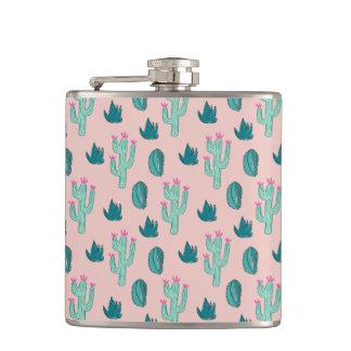 Flasques Motif mignon de cactus de rose et de vert