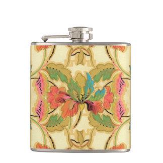 Flasques Motif orange vintage de papier peint floral de