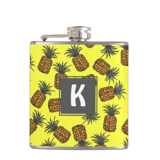 Flasques motif tropical peint à la main coloré d'ananas