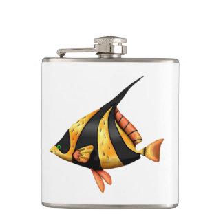 Flasques Noir et poissons tropicaux d'angle d'or