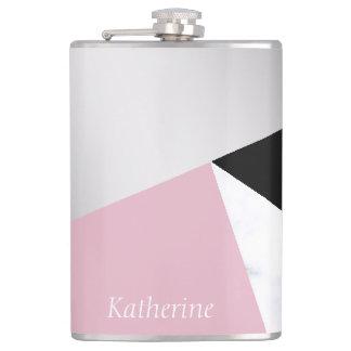 Flasques Noir rose de marbre blanc argenté géométrique