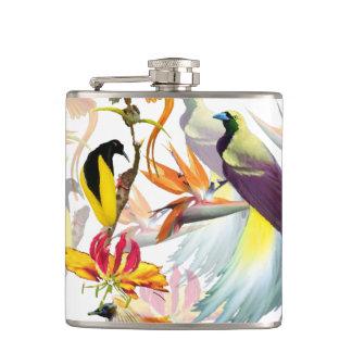 Flasques Oiseaux exotiques du paradis et de l'aquarelle de
