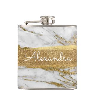 Flasques Or blanc et marbre avec la feuille d'or et les