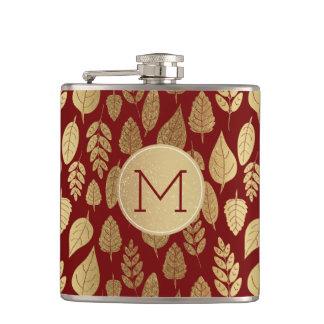Flasques Or et motif et monogramme rouges de feuille