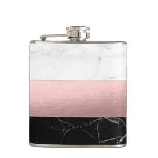 Flasques or rose de marbre blanc noir clair moderne élégant