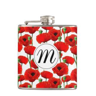 Flasques Pavots rouges motif et monogramme floraux