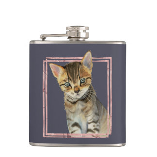 Flasques Peinture de chat tigré avec le cadre rose de