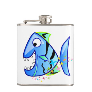Flasques Piranha tropical bleu avec des étoiles