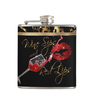 Flasques Sips de vin et lèvres rouges