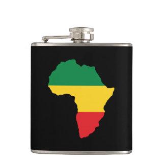 Flasques Vert, or et drapeau rouge de l'Afrique