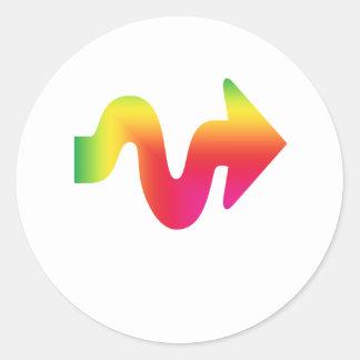 Flèche colorée par LGBT indiquant la droite Autocollant Rond