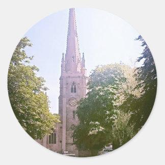 Flèche d église autocollant rond