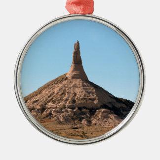Flèche de roche de cheminée de Scottsbluff Ornement Rond Argenté