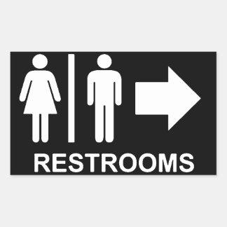 Flèche de signe de toilettes sticker rectangulaire