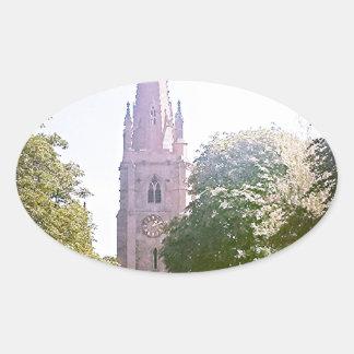 Flèche d'église sticker ovale