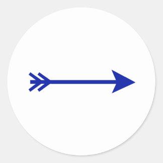 Flèche DK bleu directement les cadeaux de Zazzle Sticker Rond
