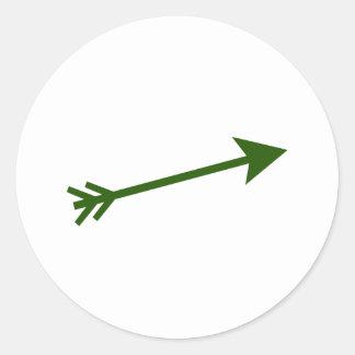 Flèche DK vert 15deg Le MUSÉE Zazzle Sticker Rond