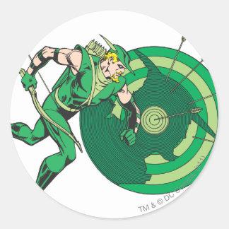 Flèche verte avec la cible 2 sticker rond