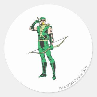Flèche verte avec la cible adhésifs ronds