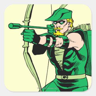 Flèche verte de tir de flèche sticker carré