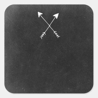 Flèches croisées sur la boutique rustique de Boho Sticker Carré