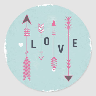 Flèches d'amour chics minables bleues et cru rose sticker rond