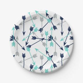 Flèches dispersées/gris en bon état de assiettes en papier