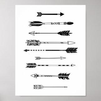 Flèches noires et blanches posters