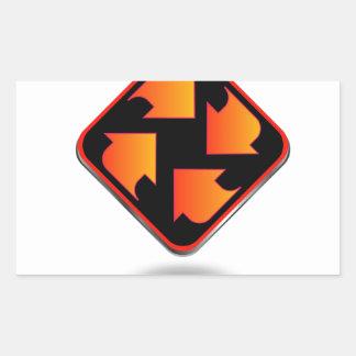flèches se dirigeant dans la direction différente sticker rectangulaire