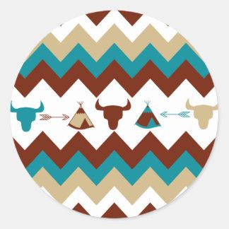 Flèches tribales de Tipi de crânes de Chevron de Adhésif Rond