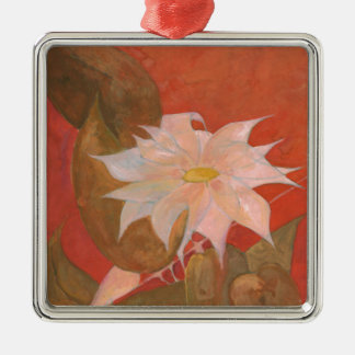 Fleur 10 ornement carré argenté